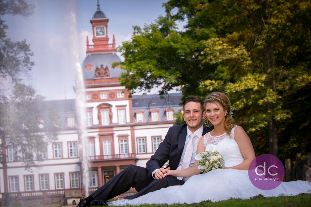 Hochzeitsfotografie am Weiher vom Schloss Philippsruhe - Hochzeitsfotograf Hanau dc - photodesign
